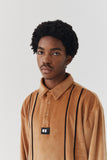 Lazy Oaf Velour Stripe Polo Shirt - Mustard