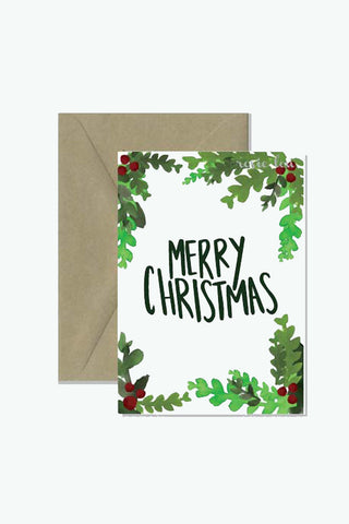 Rosie Lou Watercolour Berries Merry Christmas Card