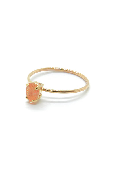 Natalie Marie Tiny Pear Ring with Sunstone