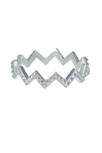 ZOE AND MORGAN - ZIG ZAG PETITE PUNK RING - SILVER