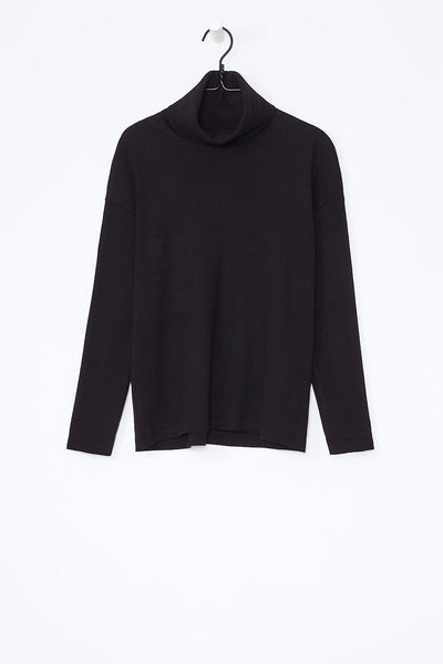 Kowtow Building Block Rib Roll Neck Top Black