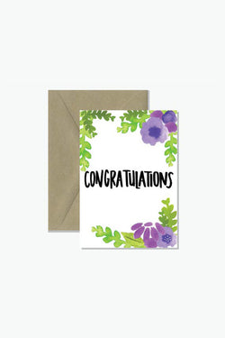 ROSIE LOU Congratulations Floral Watercolour Greeting Card
