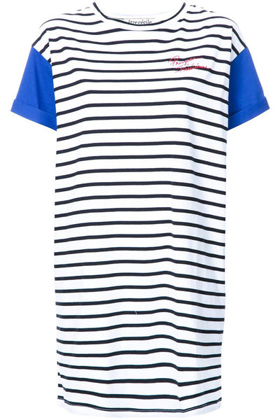 Etre Cecile Presque Parisienne Loose Fit Dress Breton Stripe Electric Blue
