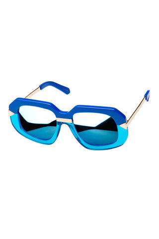 KAREN WALKER HOLLYWOOD CREEPER available in SEA BLUE CRYSTAL AQUA FRAME and BLUE MIRROR LENS