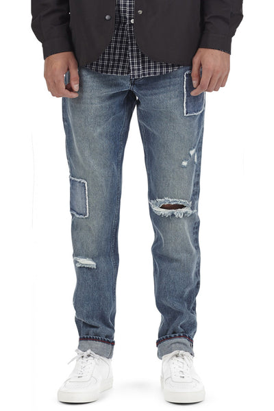 I LOVE UGLY Straight Leg Denim Patchwork Denim