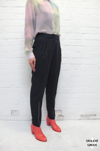 SOMETHING ELSE ZIPPERED SUIT PANT available in NAVY