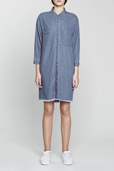 NATIVE YOUTH Frayed Hem Denim Shirt Dress Mid Blue