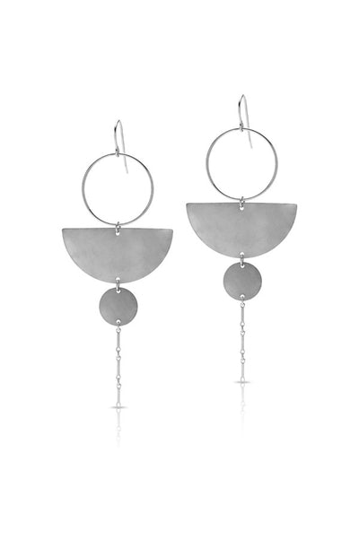 Petite Grand Old Moon Drop Earrings Silver