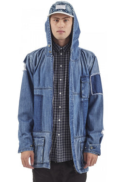 I LOVE UGLY Parka Jacket Patchwork Denim