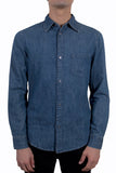 CHEAP MONDAY Rude Denim Shirt Offset Blue