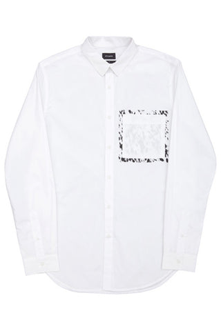 STAMPD WHITE CALF HAIR UNDERPRINT BUTTON DOWN available in WHITE $49