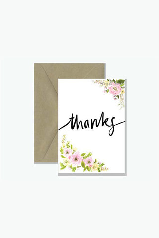 ROSIE LOU Thanks Floral Watercolour Greeting Card