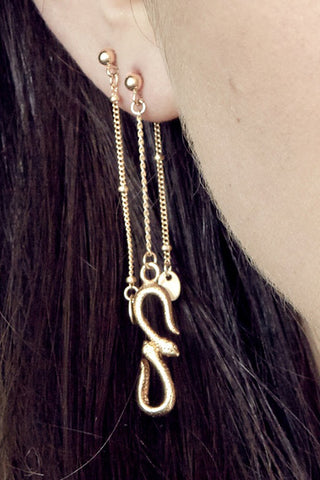 PETITE GRAND GOLD SERPENT EARRINGS available in GOLD