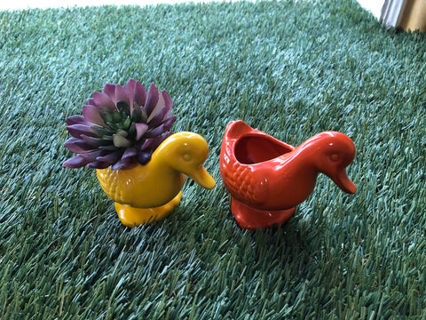 Retro duck planter (yellow or orange)