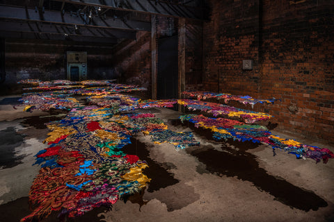 Gulnur Mukazhanova, Focus Kazakhstan: Post-nomadic Mind, 2018, Installation view, Wapping Hydraulic Power Station, London