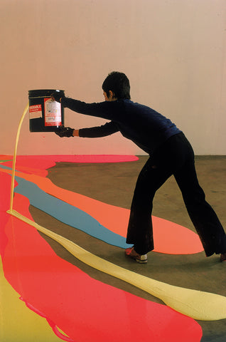 ynda Benglis painting the floor with 40 gallons of pigmented latex, University of Rhode Island, 1969. Photograph: Henry Groskinsky