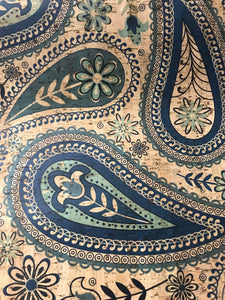 Cork Fabric - Blue Paisley