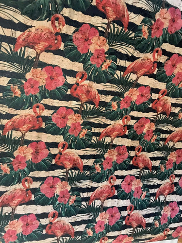 Cork Fabric - Flamingo