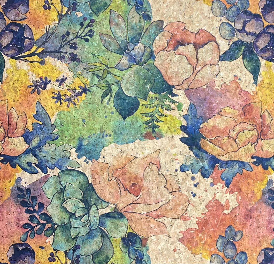 Cork Fabric - Aquarela Flowers