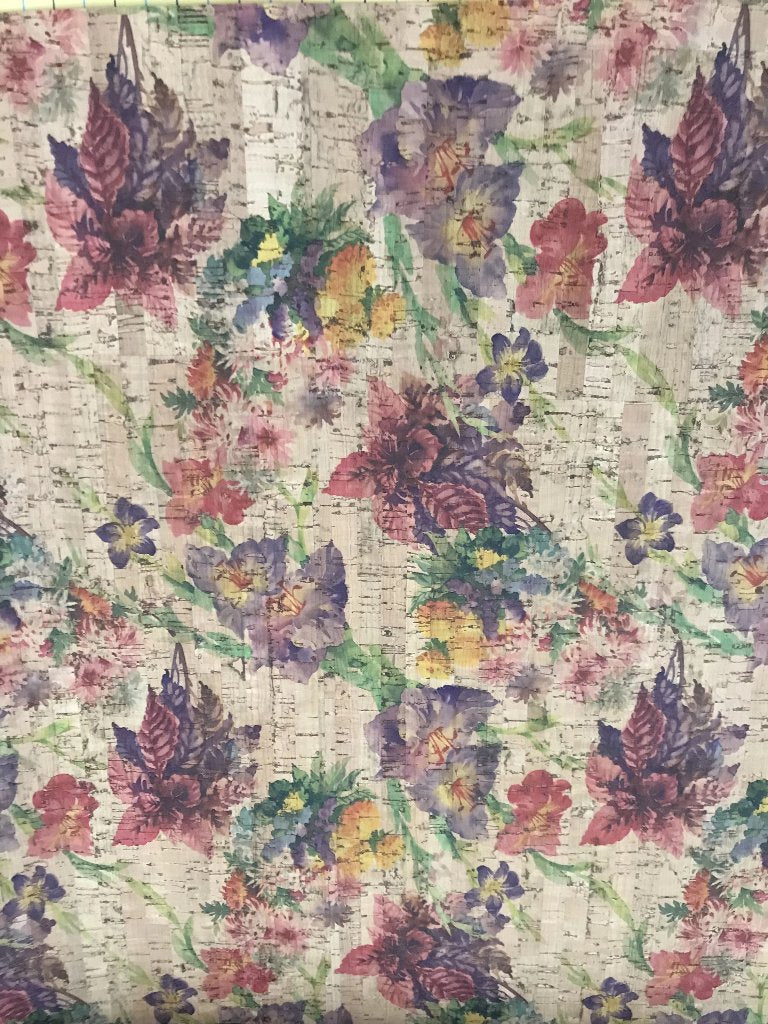 Cork Fabric - Watercolor Garden