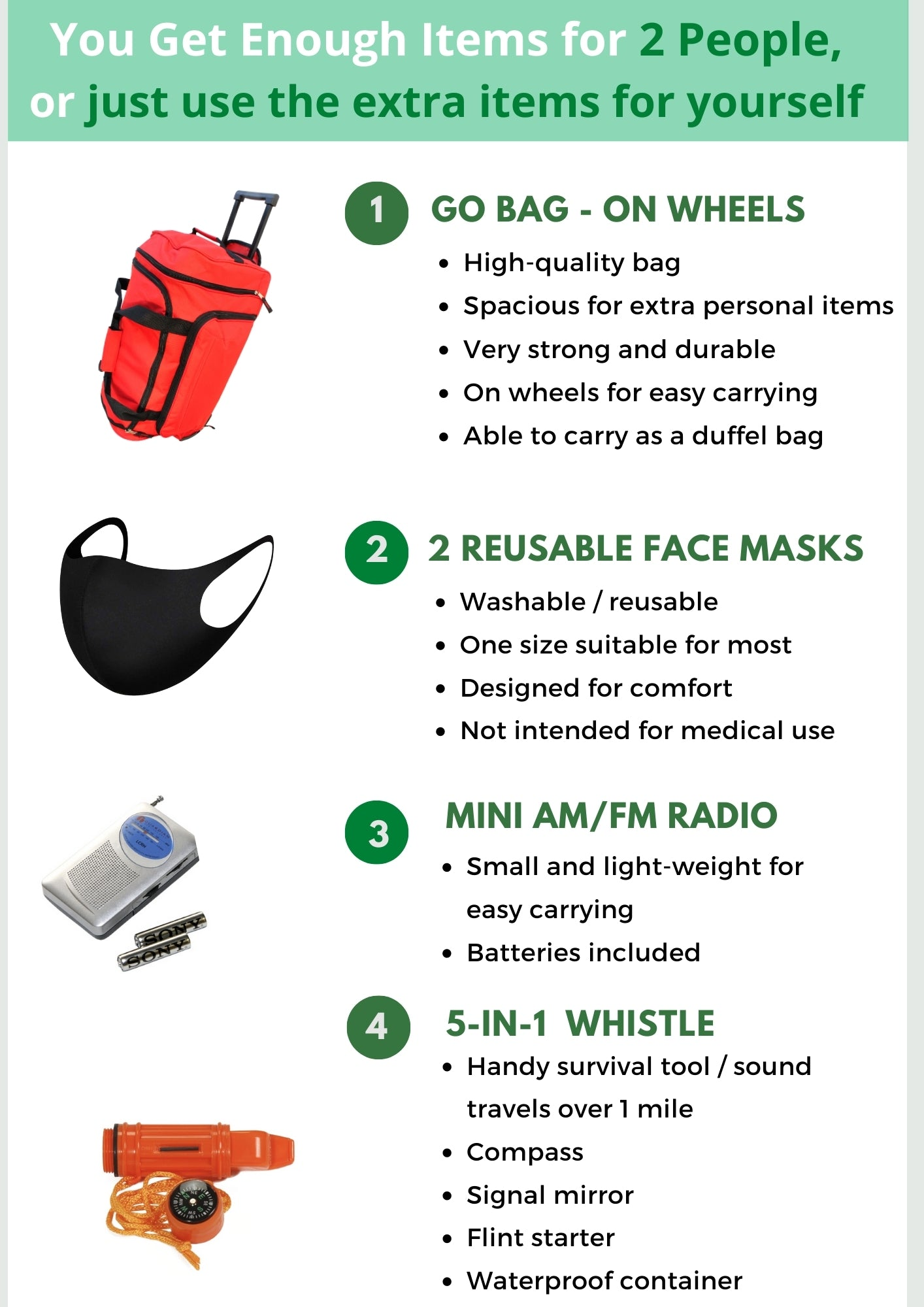 2 Person Go Bag - Family Survival Kit - Be Ready Bags