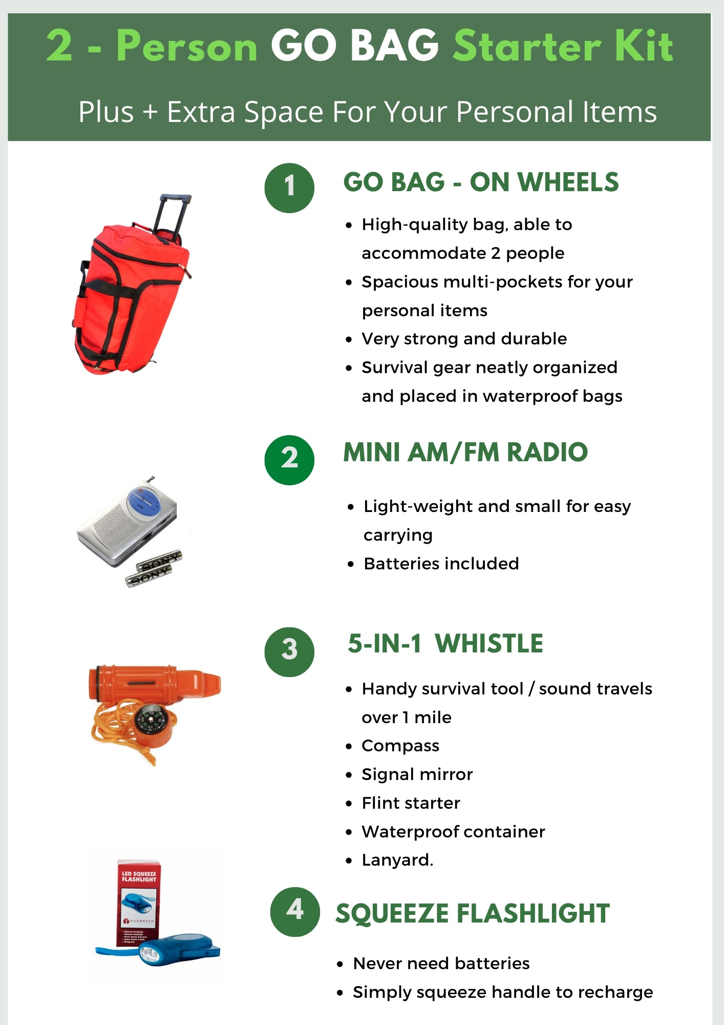 2 Person Survival Kit - Be Ready Bags