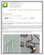Green By Design Features the AR-15 Trigger Necklace from the Subversive Gun Collection Designed by Dana Walden Chin and Radika Sallick Chin of Dana Walden Jewelry