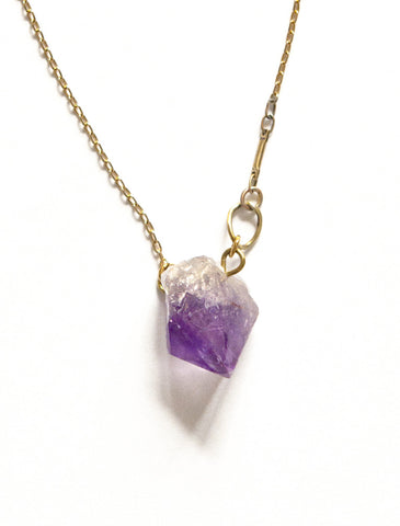 Amiée Natural Amethyst Gemstone Pendant Necklace - Eco-friendly Brass & Silver