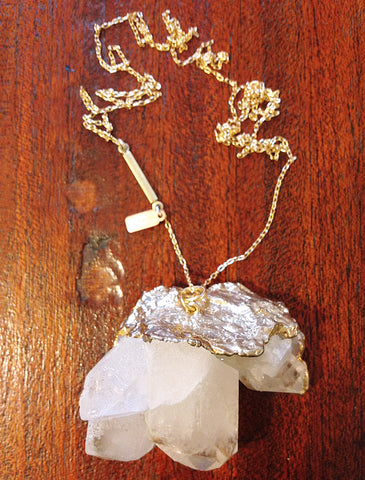 Akira Natural Clear Quartz Long Necklace - Recycled Metals - Designed by Dana Walden Chin and Radika Chin