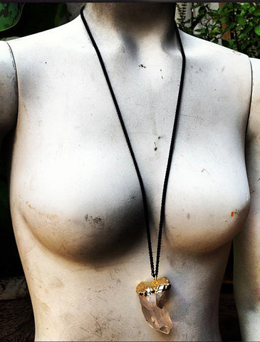 Golda Natural Clear Quartz Long Necklace - Recycled Metals - Designed by Dana Walden Chin and Radika Chin Shown Worn