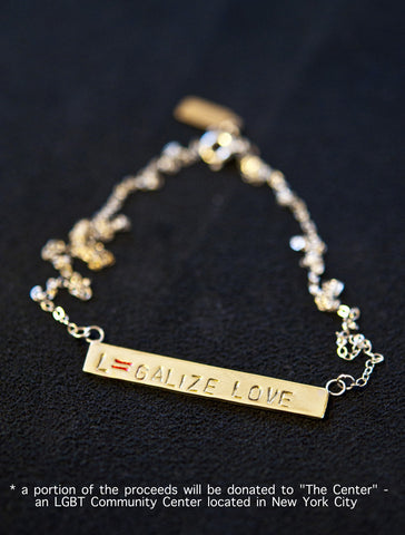 Legalize Love - Marriage Equality, Gay Rights Necklace - Civil Rights Jewelry - Recycled Brass & Silver