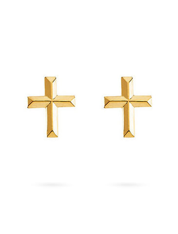Liv Recycled Gold Cross Stud Earrings Eco-Friendly