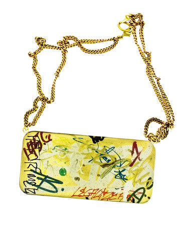 Ludlow Graffiti Inspired Brass Necklace from  Dana Walden Jewelry
