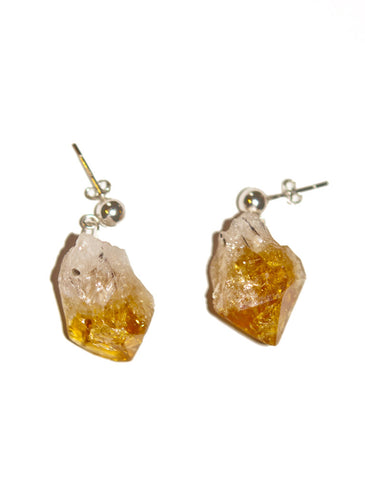 Marais Natural Rough Citrine Gemstone Earrings in Recycled Silver
