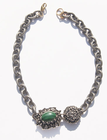 Olivine Vintage Inspired Necklace with Natural Emerald Green Malachite