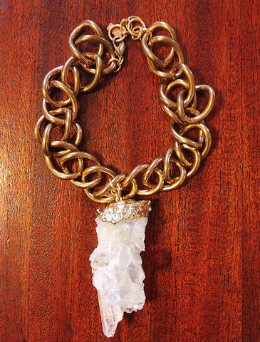 Pandora Natural Clear Quartz Long Necklace - Recycled Metals - Designed by Dana Walden Chin and Radika Chin