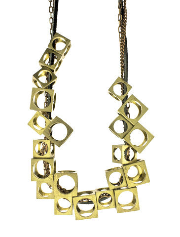 Relativity Geometric Brass Necklace from Dana Walden Jewelry