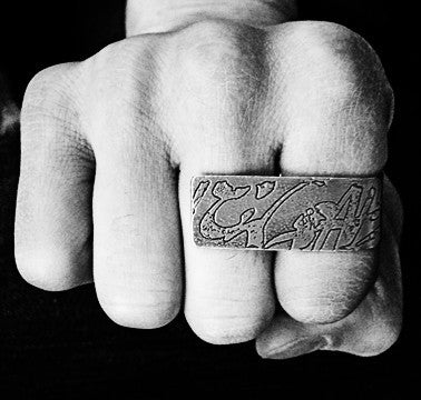 Shadow Graffiti Etched Two Finger Ring in Silver worn from Dana Walden Jewelry