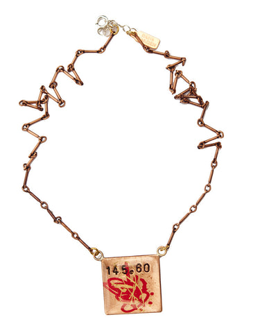 Stanton Graffiti Inspired Necklace - Street Art reference 145.60 the section of the NY State Penal Code making Graffiti a misdemeanor - designed by Dana Walden Chin and Radika Chin for Dana Walden Jewelry