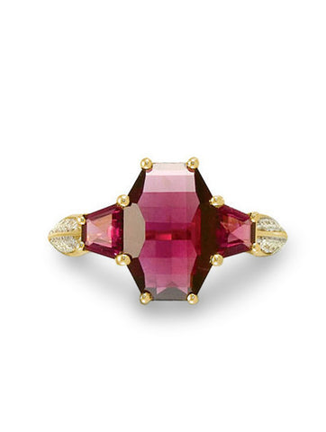 Aurora Garnet & Diamond Ring in Yellow Gold Front View from Dana Walden Jewelry