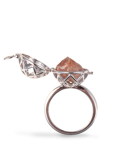 Central Park Quartz Silver Ring Side View from Dana Walden Jewelry