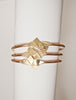 Clio Geometric Cuff in Eco-Friendly Recycled Brass Shown Stacked 3 at a time