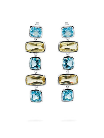 Madison Sky Blue Topaz & Lemon Quartz Earrings in Silver from Dana Walden Jewelry