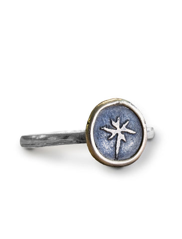 Compass Rose Gold and Silver Ring from Dana Walden Jewelry