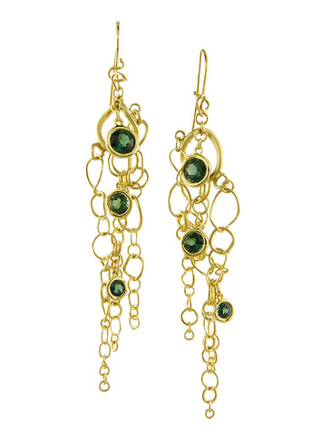 Petra Organic Yellow Gold and Green Tourmaline Earrings from Dana Walden Jewelry