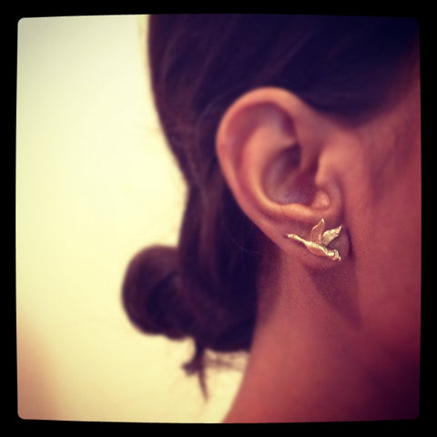 Prospect Bird Earrings in Gold from Dana Walden Jewelry Shown Worn