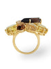 Zahara Rutilated Quartz, Honey Citrine & Smoky Quartz Ring in Yellow Gold Side View from Dana Walden Jewelry