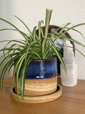 37 Deep Blue Marbled Planter Pot with Drip Tray