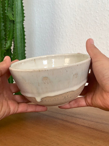 39 Drippy Speckled White Bowl