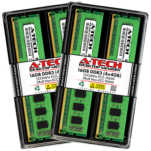 16GB Kit (4 x 4GB) DDR3-1333 (PC3-10600) DIMM DR x8 Memory RAM for Dell Inspiron 580